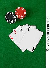 karten, mit, poker- späne