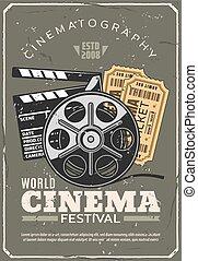 karten, plakat, kino, fest, retro, film