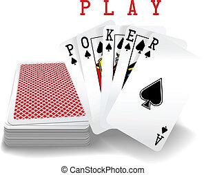 karten, poker- hand, spielende , deck