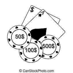karten, poker- späne