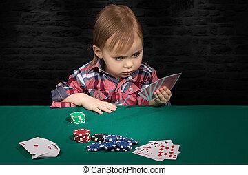 karten, spielende , kind