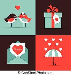 karten, tag, liebe, gruß, valentines