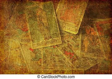 karten, tarot, grunge, hintergrund, textured