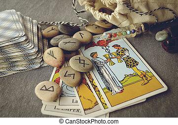 karten, tarot, runes
