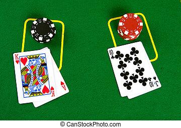 karten, und, poker- späne