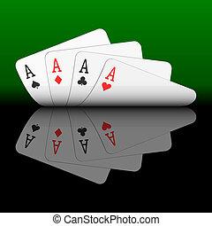 karten, vier asse, spielende