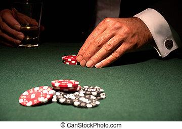kartenspieler, in, kasino, mit, späne