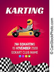 Karting car competition banner. Karting race vector concept...