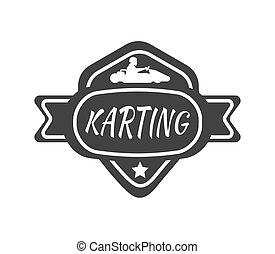 Karting club or kart races sport car vector template icon -...