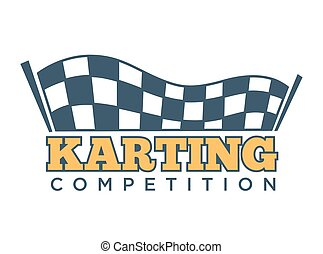 Karting club or kart races sport competition vector template...