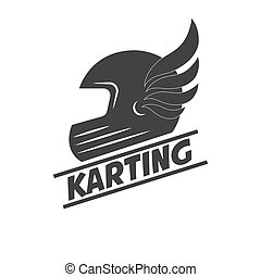 Karting club or kart races sport helmet vector template icon...