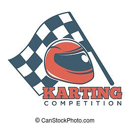 Karting competition logotype with helmet for races and flag...