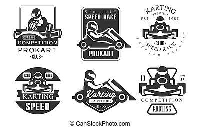 Karting Competition Premium Retro Labels Set, Mechanic Station, Procart Racing Club Monochrome Badges Vector Illustration on White Background.