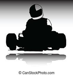 karting, deporte, vector, siluetas