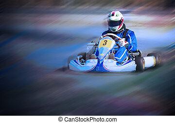 karting, -, driver, in, casco, su, kart, circuito