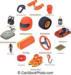 Karting equipment icons set, isometric style - Karting...