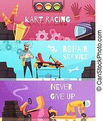 Karting Horizontal Banners Set - Horizontal banners set with...
