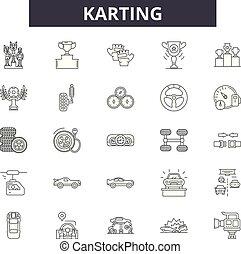 Karting line icons, signs set, vector. Karting outline...
