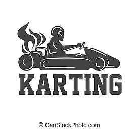 Karting logo racing sport car with driver in helmet isolated...