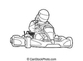 Karting - Outline karting on white background