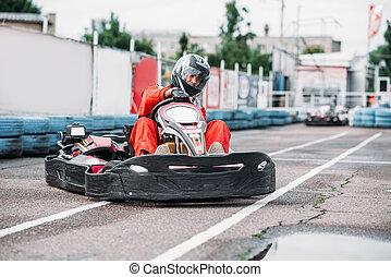 karting, piattaforma girevole, azione, andare go-kart,...