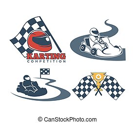 Karting promo emblems with driver in helmet and checkered...