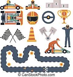 karting, raça, jogo, motor