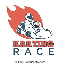 Karting race logotype with driver in helmet and flame -...