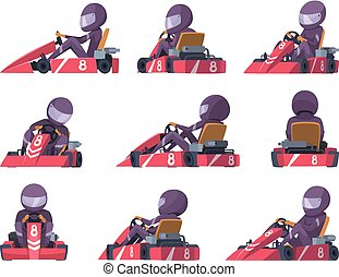 Karting racers. Sport speed cars competition vector karting...