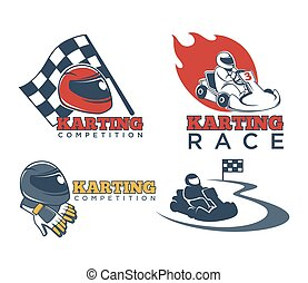 Karting races or kart club competition vector icons -...