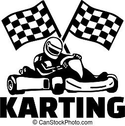 karting, sofőr, gól, kart, zászlók