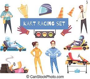Karting Sport Set - Colorful set of karting racers and...