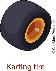 Karting tire icon, isometric 3d style