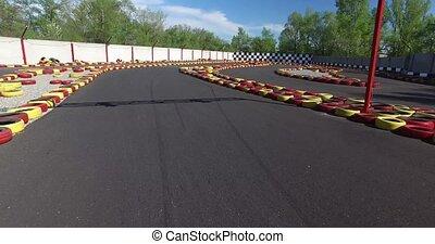 Karting track. Overhead shot - Karting track, karting to...