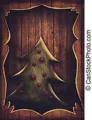 kartka na boże narodzenie, -, rocznik wina, choinka, w, drewniana budowa