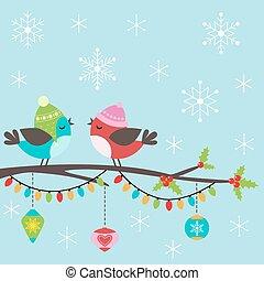 kartka na boże narodzenie, z, ptaszki