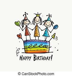 kartka pocztowa, dziewczyny, urodziny, projektować, ciastko, twój