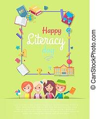 kartka pocztowa, ilustracja, wektor, szczęśliwy, dzień, umiejętność czytania i pisania
