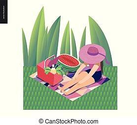 kartka pocztowa, lato, wizerunek, piknik