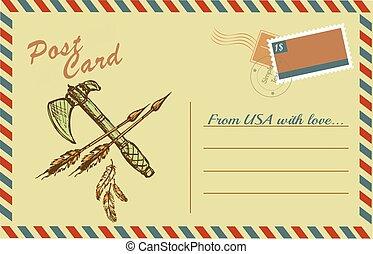 kartka pocztowa, rocznik wina, amerykański indianin, tomahawks, krajowiec