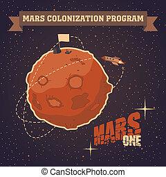 kartka pocztowa, rocznik wina, mars, projekt, kolonizacja