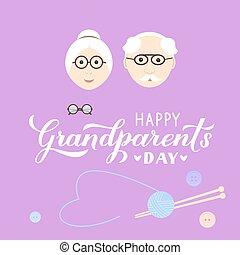 kartka pocztowa, rysunek, babcia, kaligrafia, redagować, szablon, itd., ręka, wektor, odpoczynek, grandfather., powitanie, afisz, szczęśliwy, dzień, karta, chorągiew, dziadkowie, kubek, tytuł, t-shirt