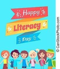 kartka pocztowa, szczęśliwy, gratulacje, dzień, umiejętność czytania i pisania