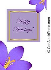 kartka pocztowa, szczęśliwy, krokus, gratulacje, ferie