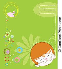 kartka pocztowa, text.vector, mysz, kot