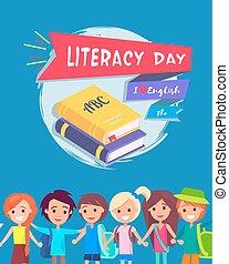 kartka pocztowa, wektor, dzień, ilustracja, umiejętność czytania i pisania
