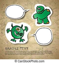 kartka pocztowa, zabawny, zielony potwór