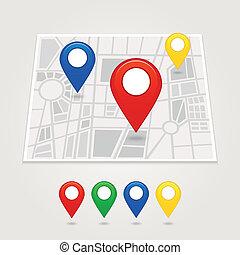 kartläggande, nålen, ikon