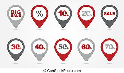kartläggande, nålen, ikonen, försäljning