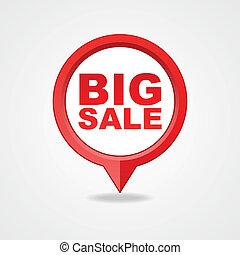 kartläggande, nålen, ikonen, stor, försäljning